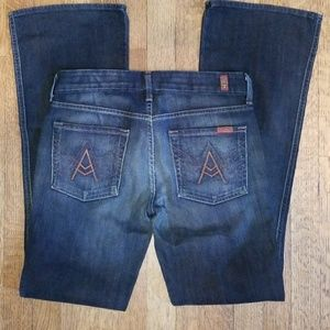 """A"" pocket 7 for all mankind sz 28 dark flare jean"